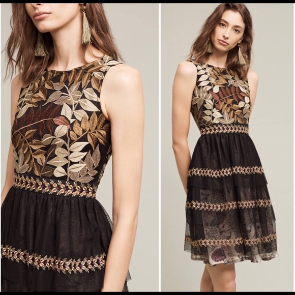 Anthropologie Dresses & Skirts - Anthro Varun Bahl Embroidered Vigne Dress - SZ S